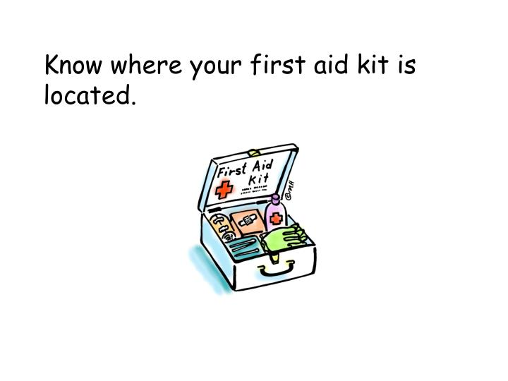 Know where your first aid kit is located.