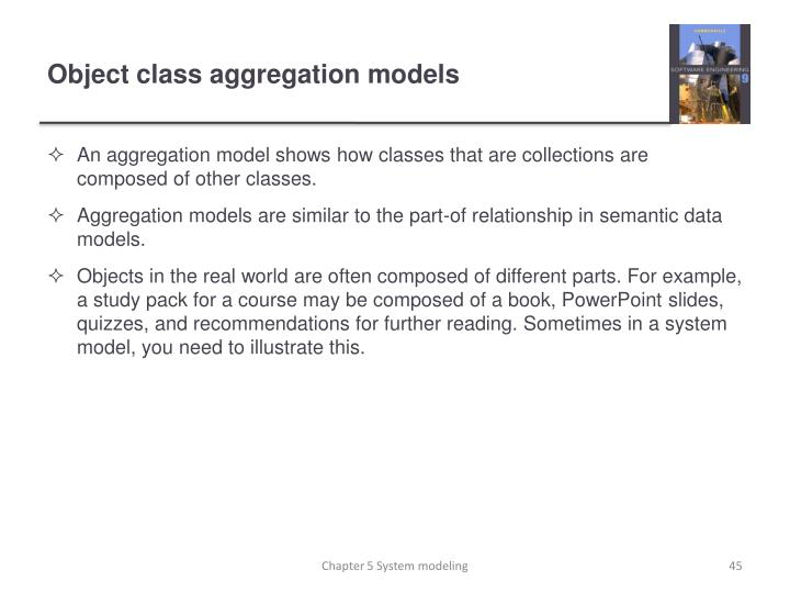 An aggregation model shows how classes that are collections are composed of other classes.