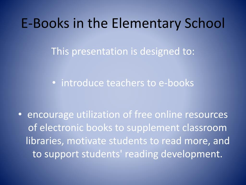 E-Books in the Elementary School