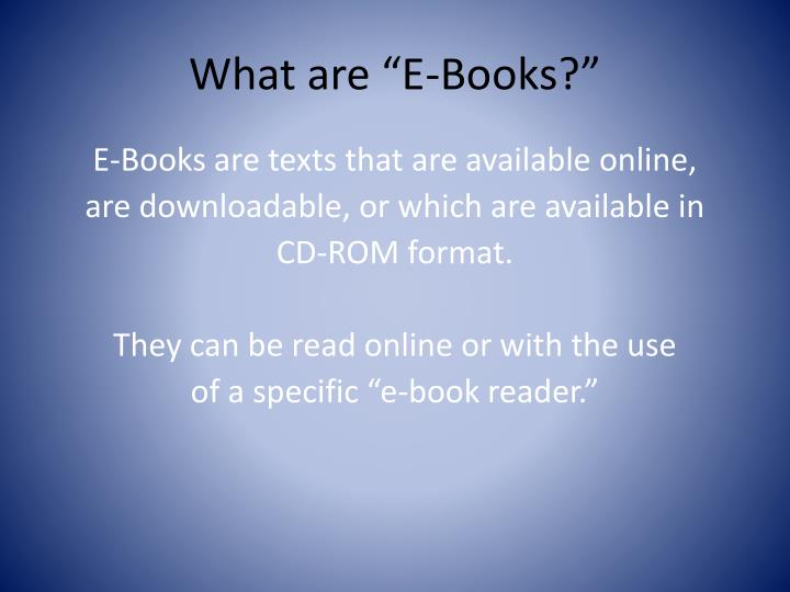 What are e books