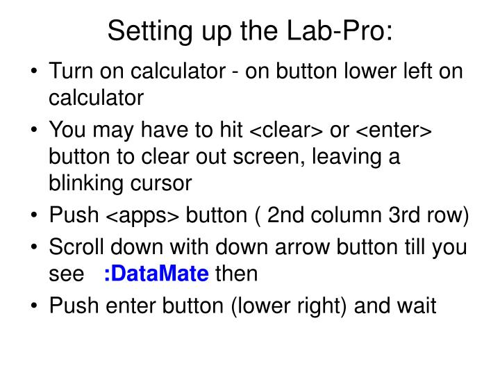 Setting up the Lab-Pro: