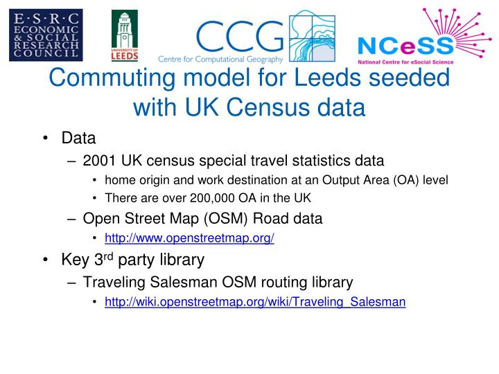 Commuting model for Leeds seeded with UK Census data