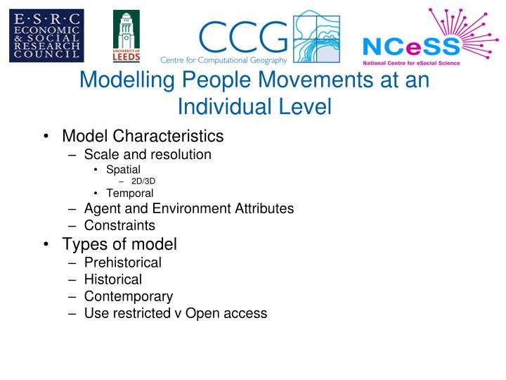 Modelling People Movements at an Individual Level