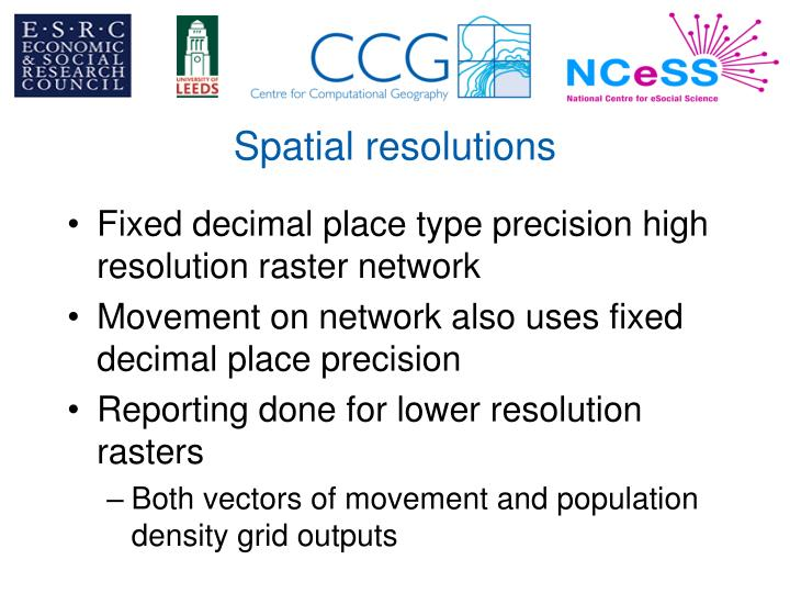 Spatial resolutions