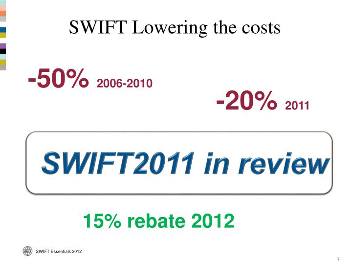 SWIFT Lowering the costs