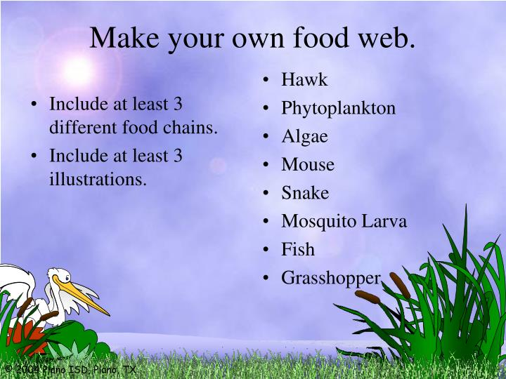 Make your own food web.
