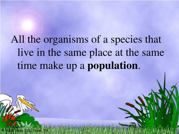 All the organisms of a species that live in the same place at the same time make up a