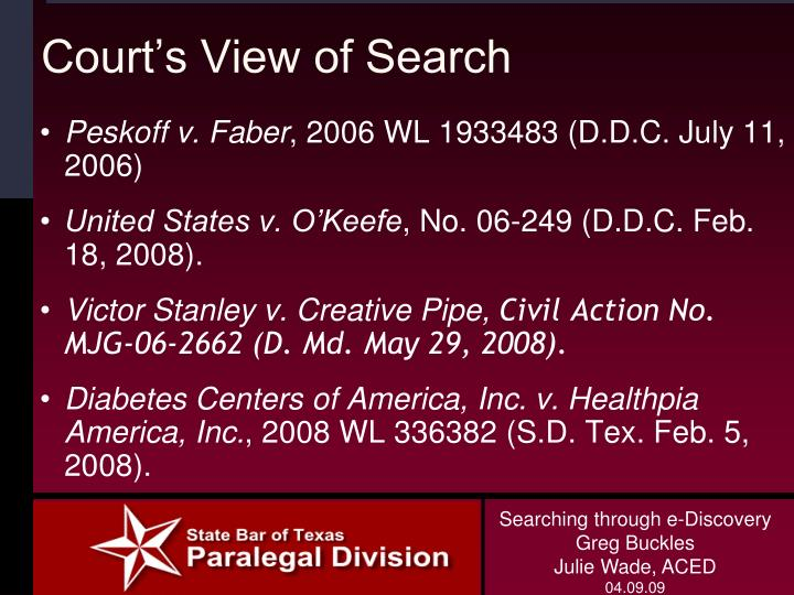 Court's View of Search