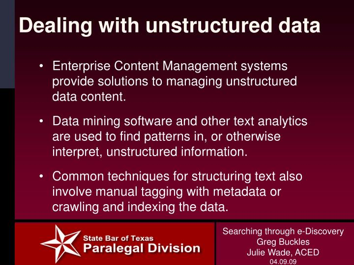 Dealing with unstructured data