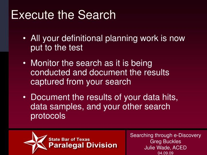 Execute the Search