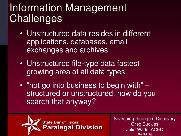 Information Management Challenges