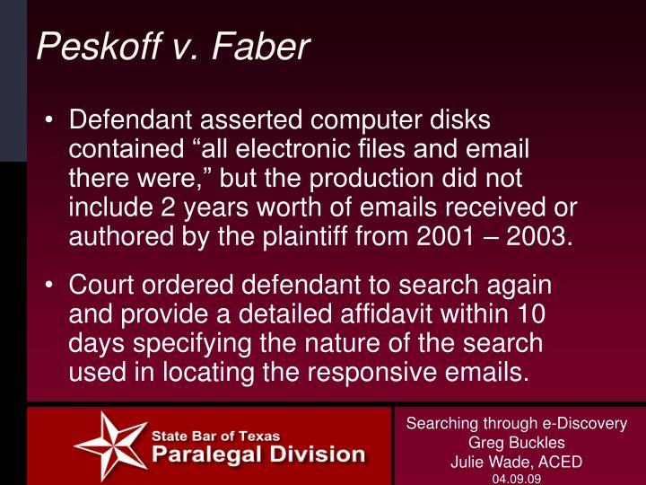 Peskoff v. Faber