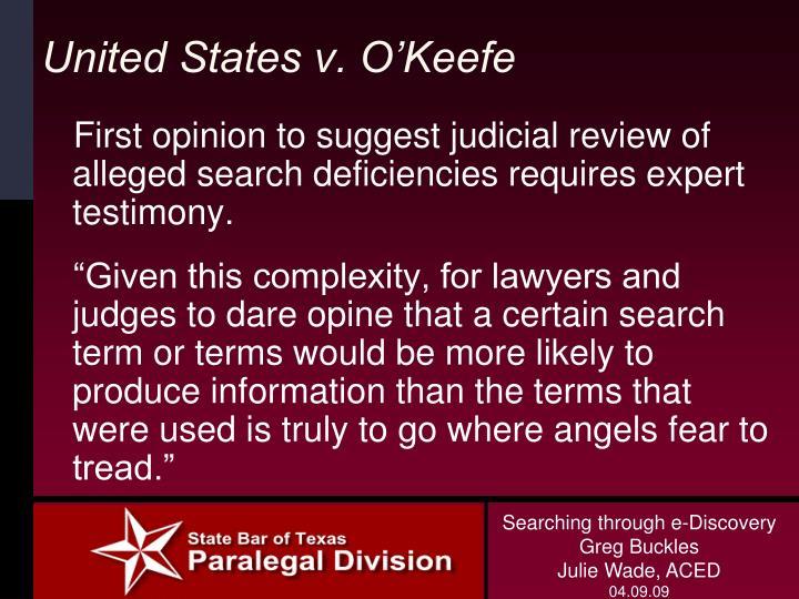 United States v. O'Keefe