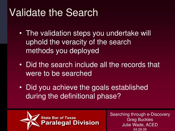 Validate the Search