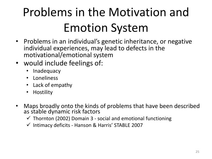 Problems in the Motivation and Emotion System