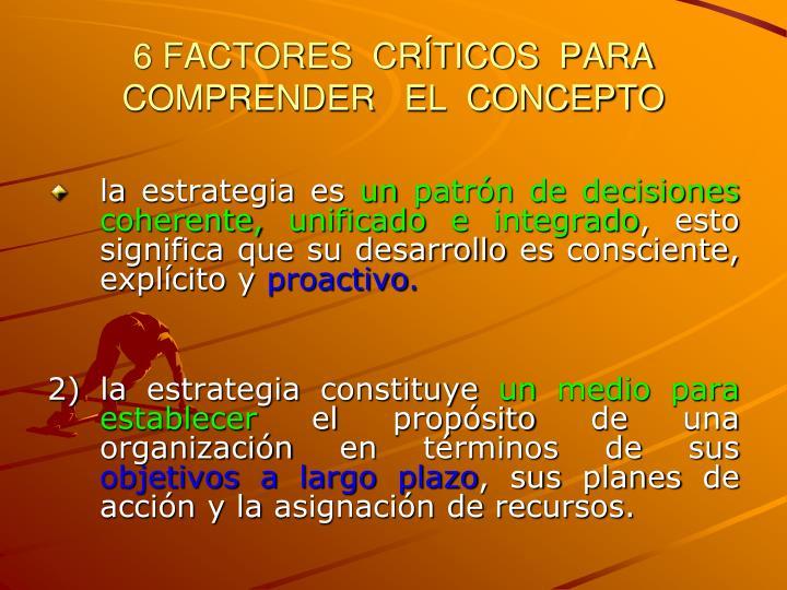 6 FACTORES  CRÍTICOS  PARA COMPRENDER   EL  CONCEPTO