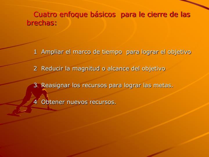 Cuatro enfoque básicos  para le cierre de las brechas: