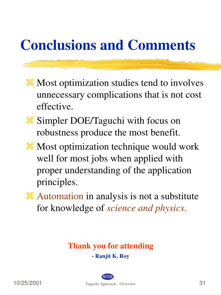 Conclusions and Comments