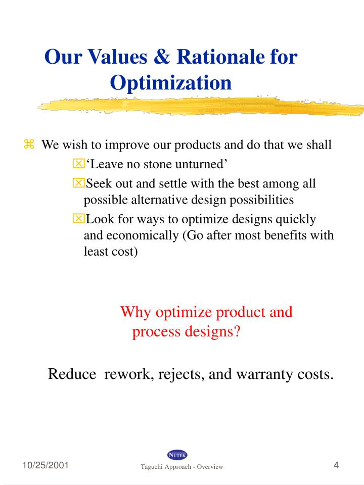 Our Values & Rationale for Optimization