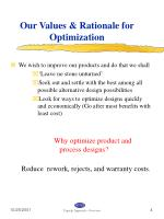 our values rationale for optimization