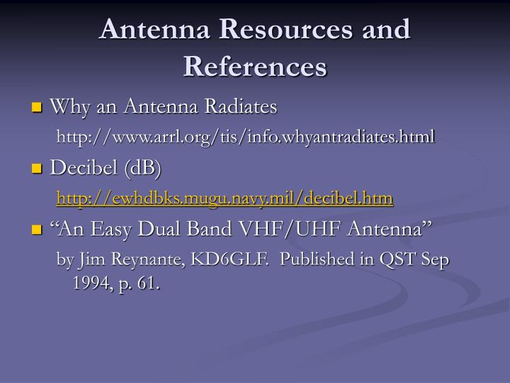 Antenna Resources and References