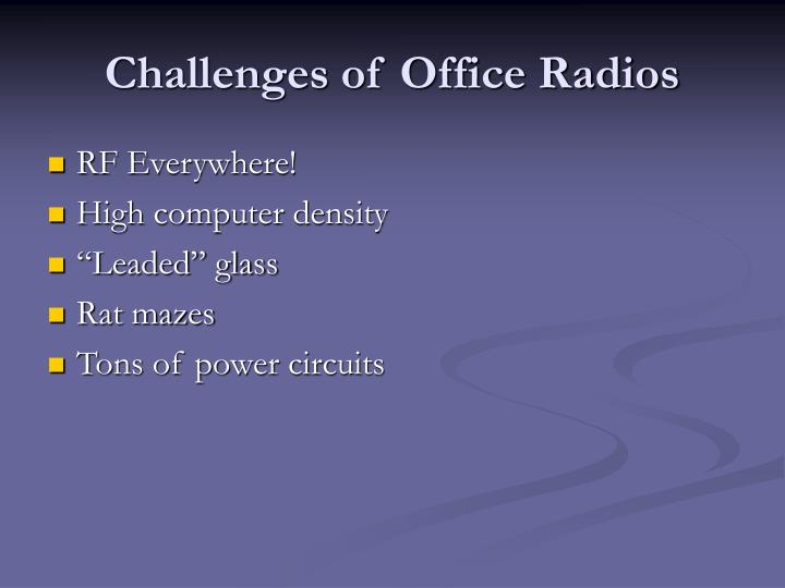 Challenges of office radios
