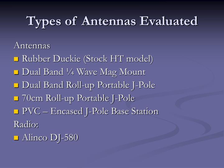 Types of antennas evaluated