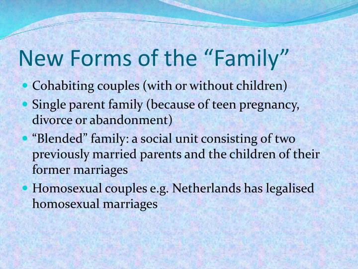 "New Forms of the ""Family"""