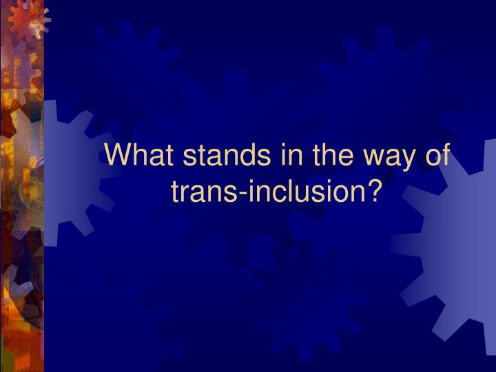 What stands in the way of trans-inclusion?