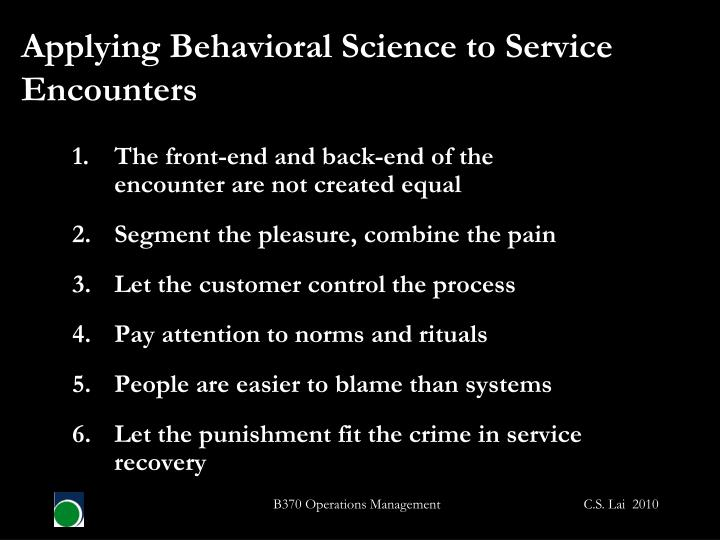 Applying Behavioral Science to Service Encounters