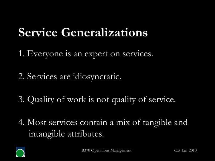 Service Generalizations