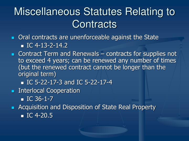 Miscellaneous Statutes Relating to Contracts