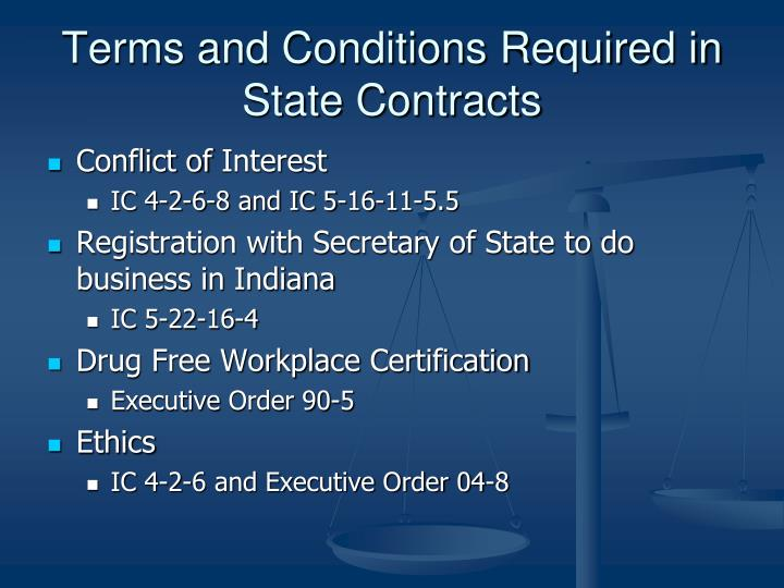 Terms and Conditions Required in State Contracts