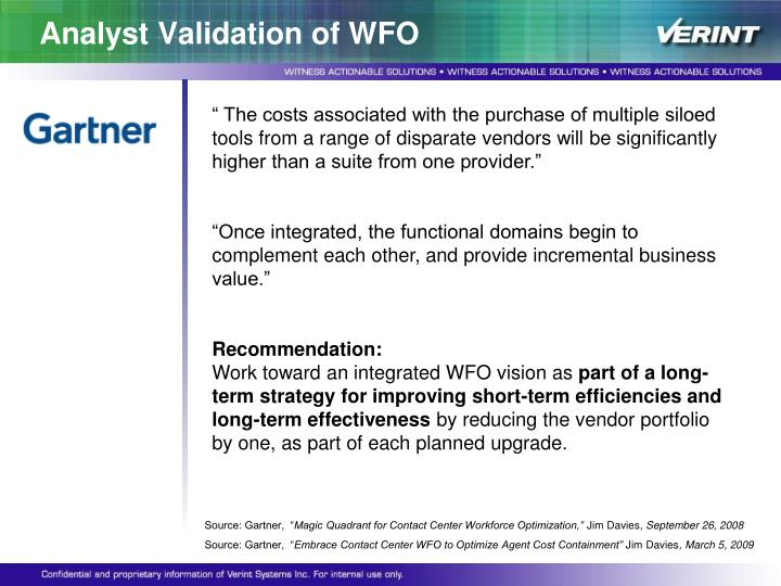 Analyst Validation of WFO