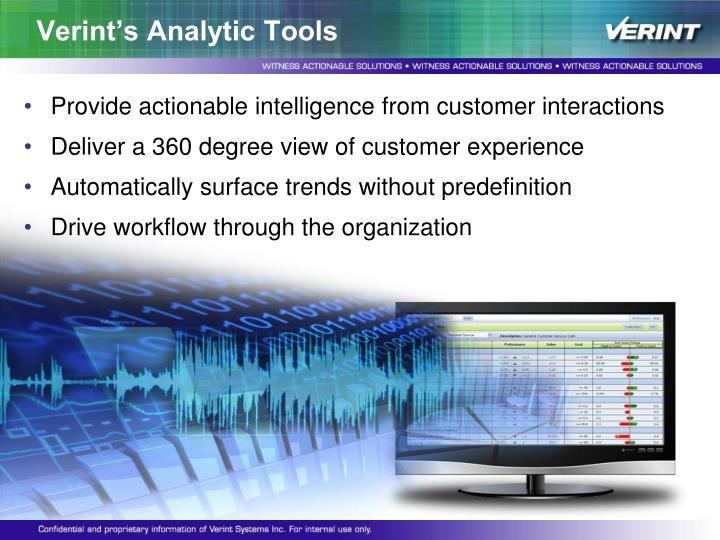 Verint's Analytic Tools