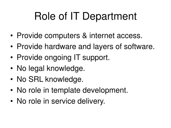 Role of IT Department