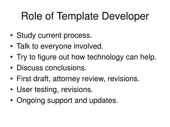 Role of Template Developer