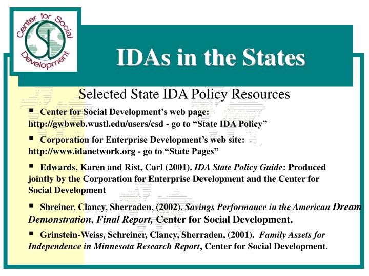 Selected State IDA Policy Resources
