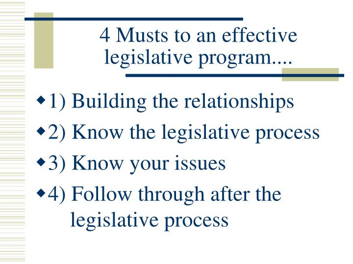 4 Musts to an effective legislative program....