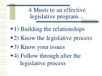 4 musts to an effective legislative program