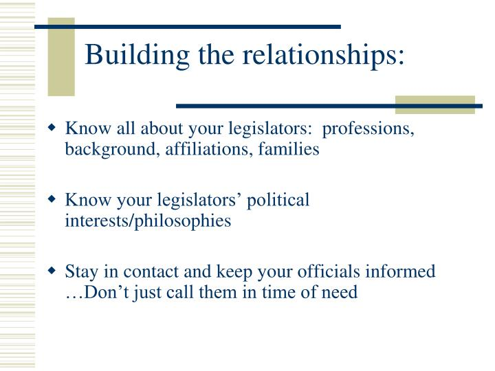 Building the relationships: