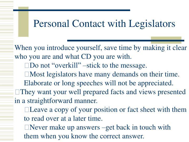Personal Contact with Legislators