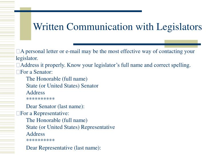 Written Communication with Legislators