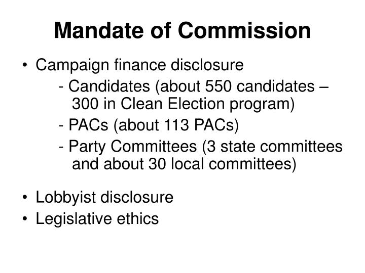 Mandate of commission