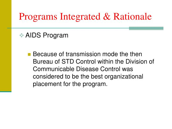 Programs integrated rationale