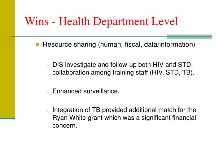 Wins - Health Department Level