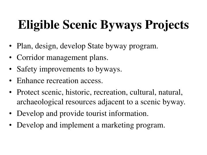 Eligible Scenic Byways Projects