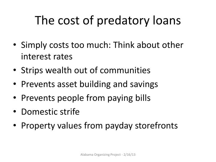 The cost of predatory loans