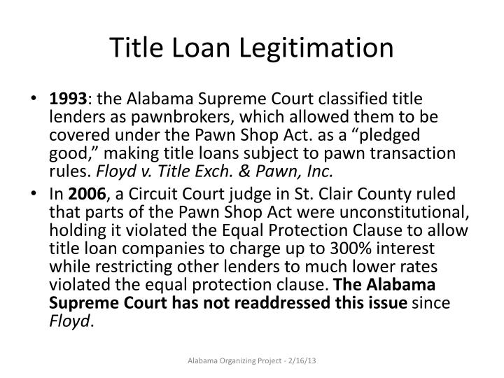 Title Loan Legitimation