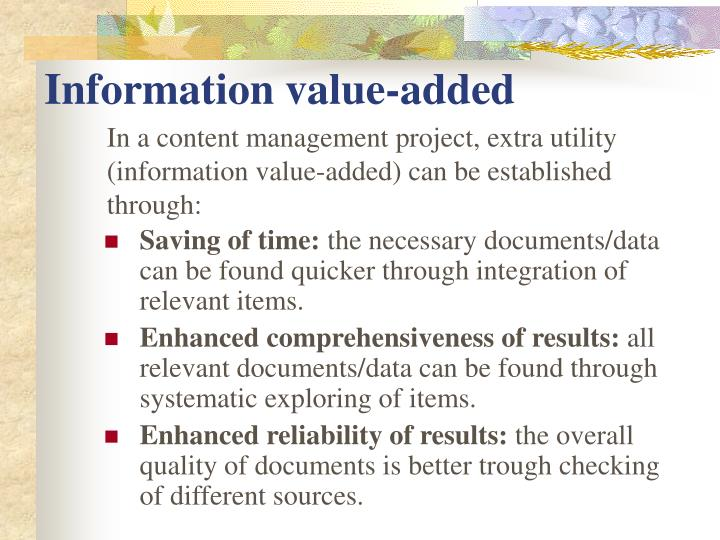 Information value-added